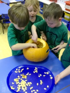 Emptying a pumpkin is hard work!