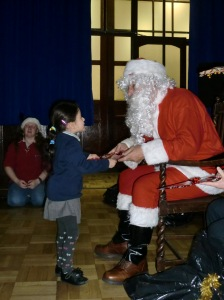 Solafah meeting Santa.