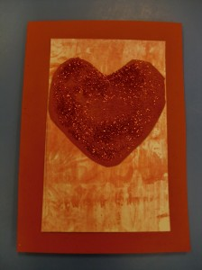 We printed our Valentine cards using shaving foam and paint.