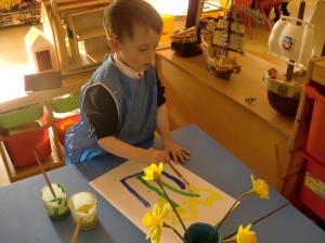 Chris painting daffodils