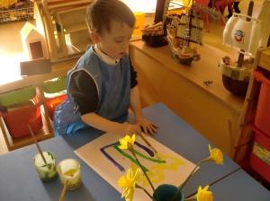 Chris painting daffodils