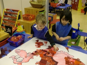 Zac and Aisha working on our dragon