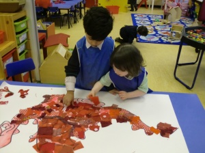 Eleanor and Zakariyya working on our dragon
