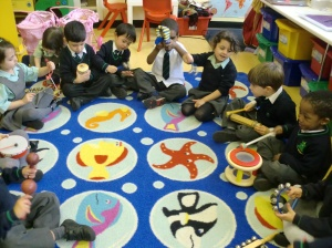 We love playing the instruments!