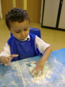 Mohammed made some new play dough for us.