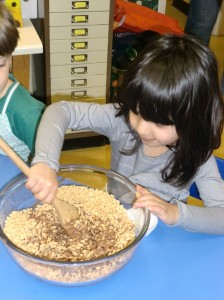 We mixed the chocolate into the rice crispies.