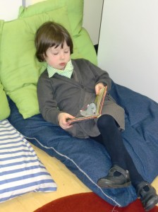 Relaxing to read a book.